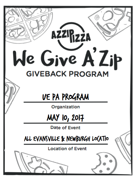 Flyer for pizza give back program