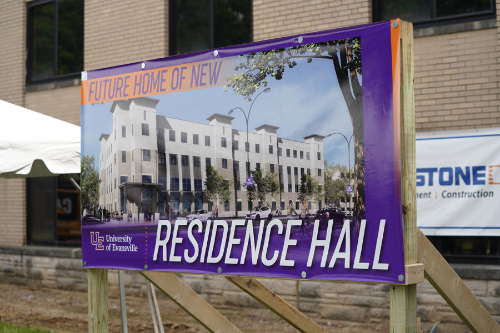 Future home of new residence hall sign