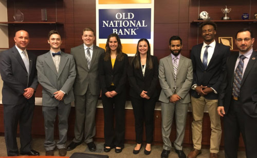 Ace3 Finalists standing in front of the Old National Bank logo