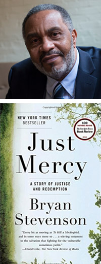 Anthony Ray Hinton and the cover of the book Just Mercy by Bryan Stevenson