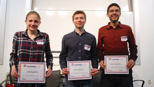 Three ChangeLab winners from Data Science holding up certificates