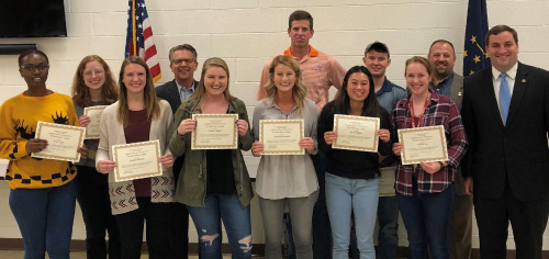 Pictured from left to right: Eileen Rasmussen, Jordan Buechler, Mayor Lloyd Winnecke, Maddie Cleland, Mackeznie Kochell, Matthew Ladd, Siera Pagan, Hunter King, Sabrina Lux, EPD Chief Billy Bolin, and Vanderburgh County Prosecutor Nick Herman. Not pictured but graduating from the Academy are Olivia Gardner, Owen Gogarty, Tattenai Hall, and Hunter Sandage.