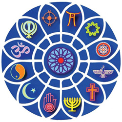 Festival of Faiths Badge containing multiple faith symbols.