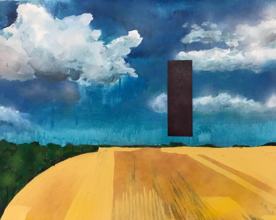 Jon Hittner Painting of sky and ground with abstract shapes