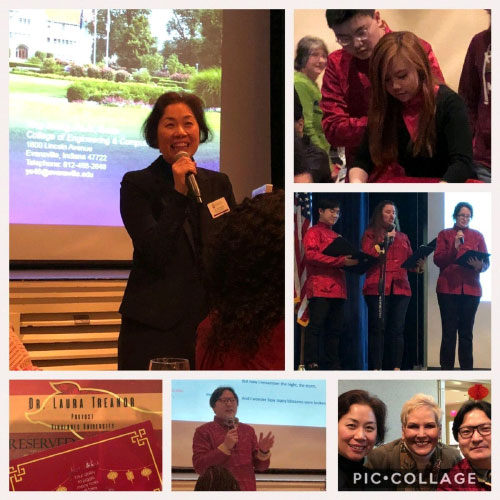 Collage of photos of Ying Shang speaking on stage.