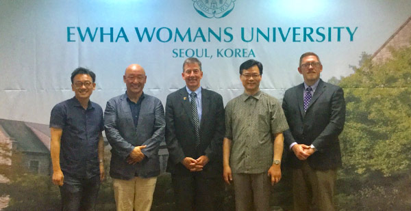 UE president Thomas A. Kazee and vice president of enrollment and marketing Shane Davidson visited Ewha Womans University in July 2016.